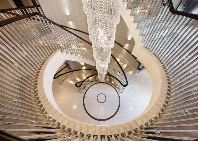 Stairway and Chandelier