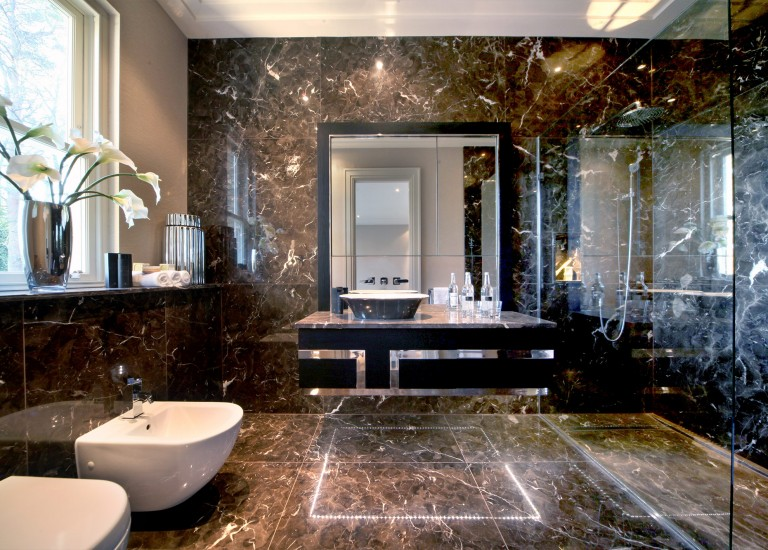 Black Bookmatched Marble Ensuite Bathroom