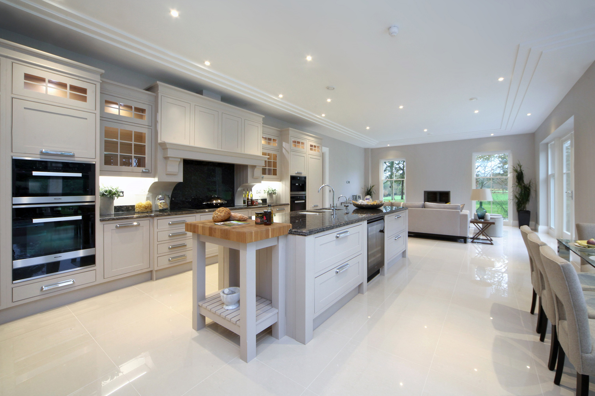 Bespoke architecture interiors from luxury property - Open kitchen designs with living room ...