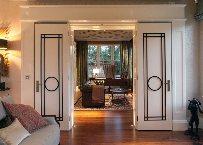 Ornate Period Feature Doors leading from Drawing Room to Study