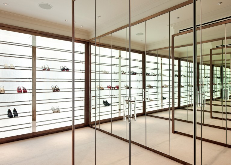 Shoe Shelving Storage Mirrored Dressing Room