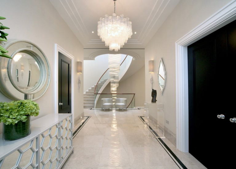 Hallway, Stairs and Chandelier