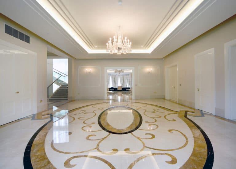 Hallway with Ornate Marble Flooring
